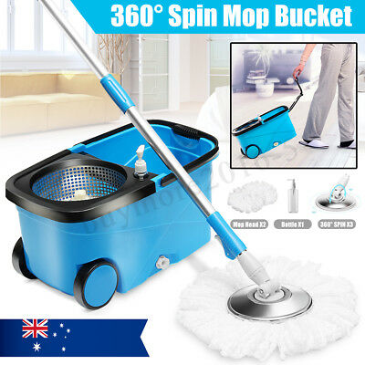360° Spin Mop Bucket Spinning Stainless Steel Magic Dry Microfibre 2 Free Heads
