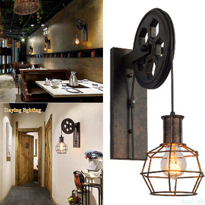 Retro Pulley Industrial Style Metal Antique Cage Pendant Wall Mount Light RT45