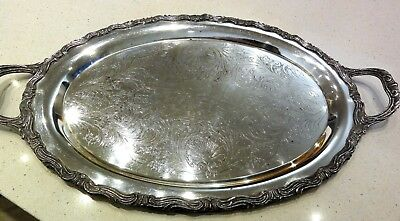 Heavy Vintage FB Rogers Silver Plated 1883 Tray With Engraved Surface