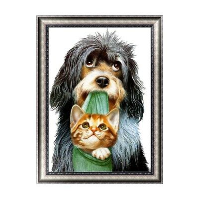 DIY 5D Diamond Painting Dog and Cat Cross Stitch Embroidery Craft Home Decor