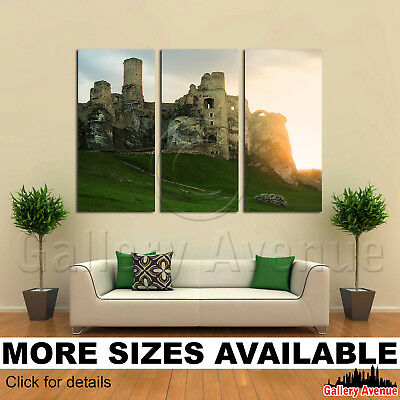 3 Panel Canvas Picture Print - Historical castle Ogrodzieniec Poland XIVc 3.2