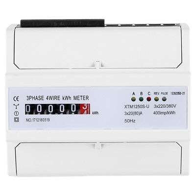 1x Digital LCD 50Hz 3x20(80)A KWH Power Energy Meter 3-Phase 4-Wire DIN Rail New