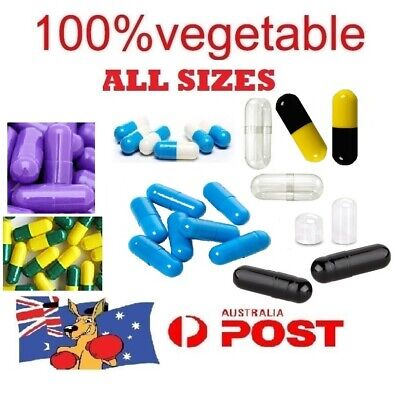 Size 1 2 3 4 0 00 000 Empty Capsules Vegetable Medicine Pill Vitamins Med Drug