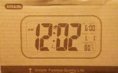 Extra Large white LED Display Digital Electric Alarm Clock with Snooze
