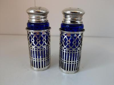 Cobalt Blue glass with silver plated overlay salt and pepper shaker