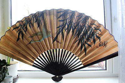Vtg Antique Signed Chinese Japanese Hand Made Hand Painted Paper Fan Black Gold