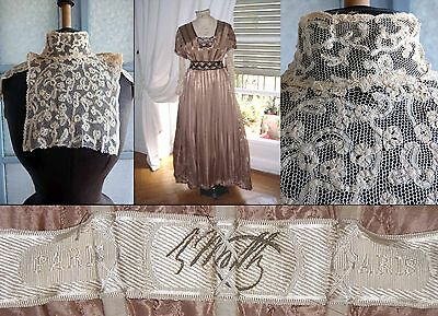 WORTH GOWN STUNNING ORIGINAL BRUSSELS LACE COLLAR BODICE FRONT, c.1912