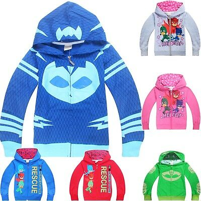 PJ MASKS boys gilrs clothing top hoodie thin jacket CATBOY GEKKO OWLETTE Sz 2-6