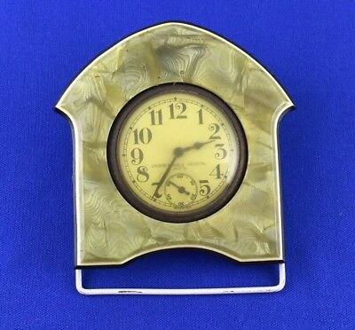 VINTAGE Mother of Pearl Desk Clock Windup E. INGRAHAM CO. BRISTOL