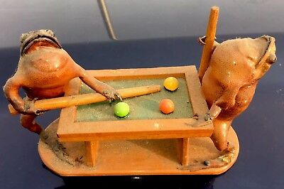 Vintage Billiards Frogs Shooting Pool Taxidermy Rare toads playing