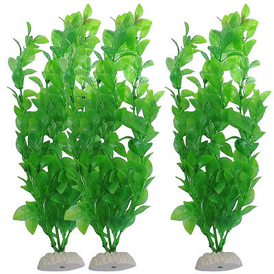 "10.6"" Green Plastic Artificial Water Plants Grass Aquarium Fish Tank Decor  Pro."