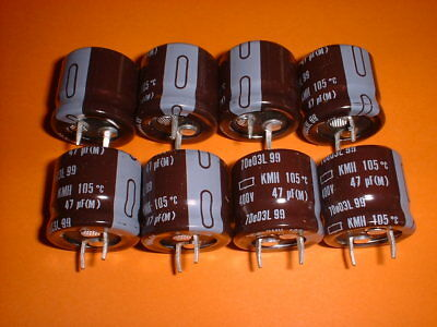 8x Elko 47µF/400V 105°C 20x22mm RM10mm Snap-In 47uF