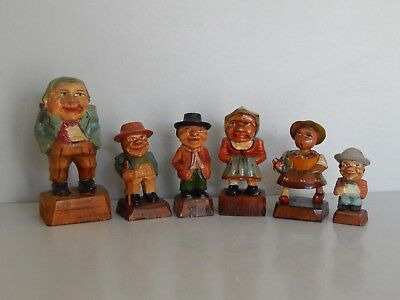 Vintage hand carved treen group of 6 figures from Austria