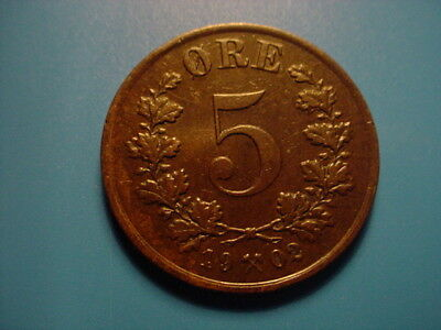 Norway 1902 5-Ore In Very Nice Condition