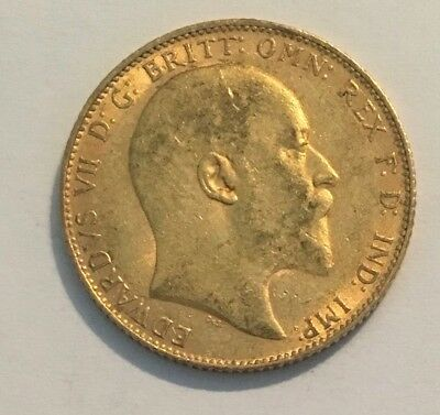 1908 Great Britain Gold Sovereign - Edward VII (London Mint)