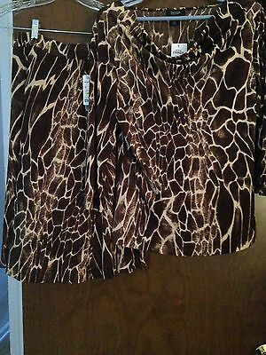 Peck & Peck Collection Womens Brown Beige Animal Print L/S Top & Skirt M NWT $80