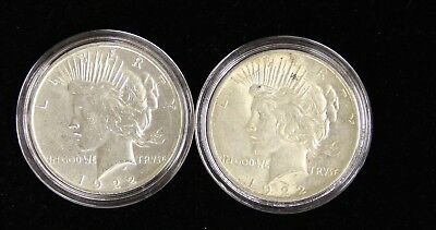 Two (2) Nicer Peace Silver Dollars $ 1922-D pair AU details Pre '64