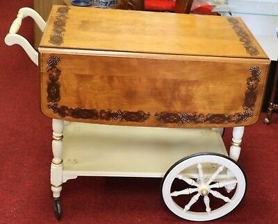 Ethan Allen Drop Leaf Hand Decorated Hitchcock Style Serving Cart