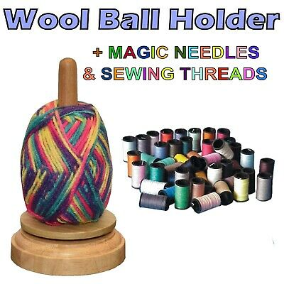 REVOLVING WOOL BALL HOLDER + MAGIC Easy Thread Needles x12 & Thread Spool x100