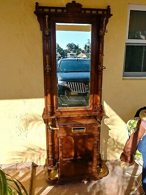 Vintage Neo Classic Hall Tree Beveled Mirrors Pulaski  Umbrella Stand mailbox