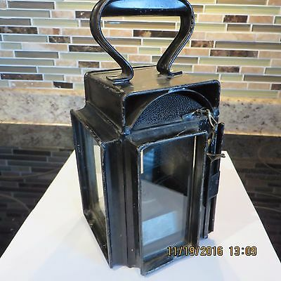 Antique Lantern (Possibly A Miner's Lamp) Metal & Glass