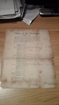 Very Rare Document Office Of The Ordnance Minehead Somerset Dated 1701