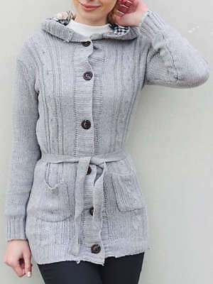 Flax Patterns Acrylic Hooded Cardigan For Women - Gray - ONE SIZE