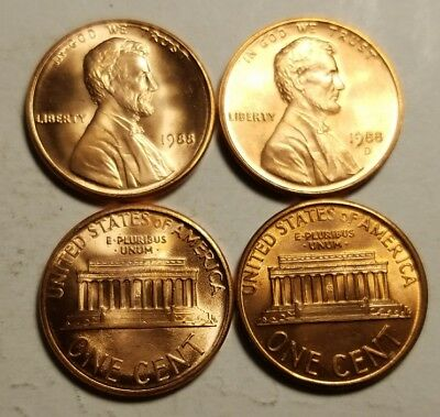 1988P / 1988D ~ Lincoln Memorial Cents from BU Rolls