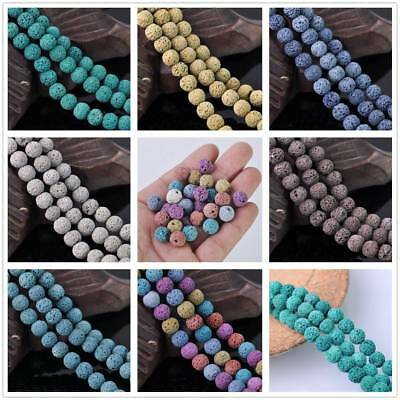 10mm Lava Stone Natural Gemstone Charms Loose Round Spacer Beads Making 10pcs
