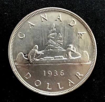 CANADA 1936 1 Dollar Silver Crown AU-UNC