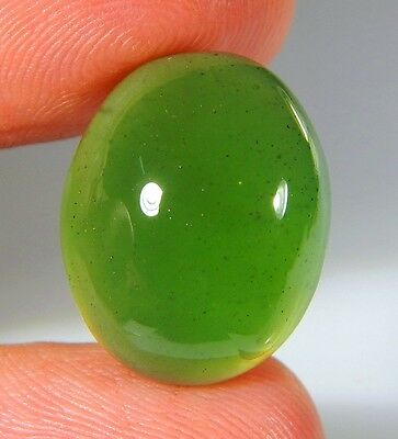 18 Ct Natural Ring Size Deep Green Serpentine  Jade Oval Cabochon  Gemstone A115