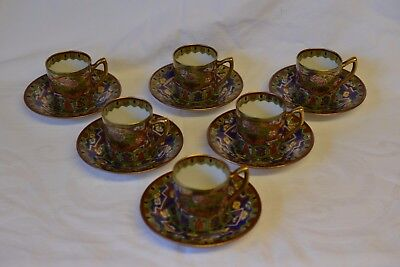 Meito 6 coffee cups and saucers porcelain Noritake gilded hand painted