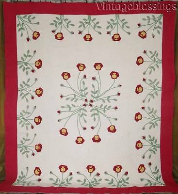 Graceful Red Tulips VINTAGE Green & Red Large Applique QUILT 97x84""