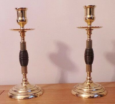 QUALITY 19th CENTURY BRASS & WALNUT BANDED CANDLESTICKS - BEAUTIFUL CONDITION
