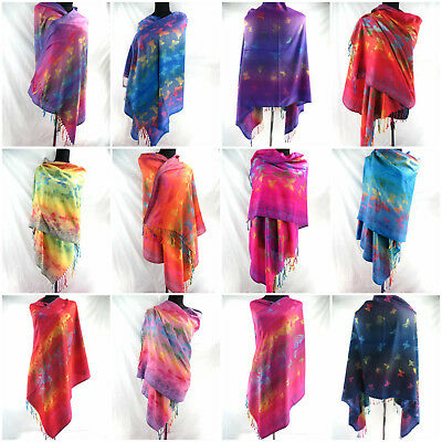 US Seller- 12 scarves rainbow butterfly pashmina shawls for Women Wholesale