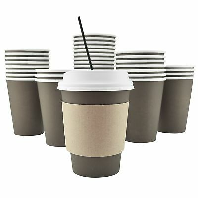 100 Pack - 12 Oz Disposable Hot Paper Coffee Cups, Lids, Sleeves, Straws To Go