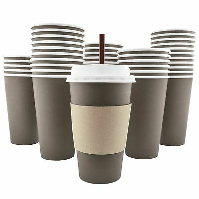100 Pack - 16 Oz Disposable Hot Paper Coffee Cups, Lids, Sleeves, Straws To Go