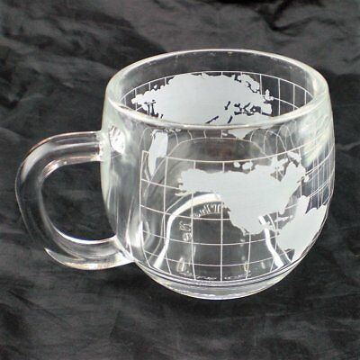 Vintage Nestle Co Heavy World Globe Etched Glass Mug Advertising Premium Nescafe