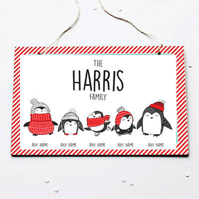 Personalised Xmas Penguin Family Hanging Sign - Plaque - Family Christmas Gift