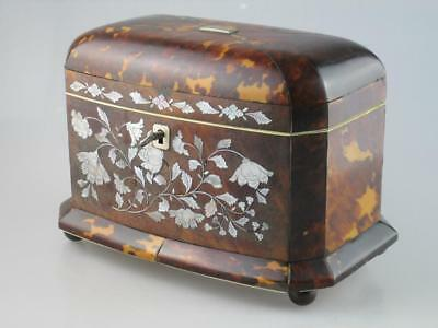 Large 19th Century Faux Tortoiseshell Mother Of Pearl Tea Caddy Circa 1820