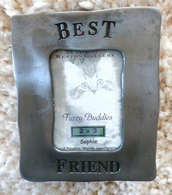 """FUZZY BUDDIES SERIES""   Best Friend Frame  (Weston Gallery in Textured Pewter)"