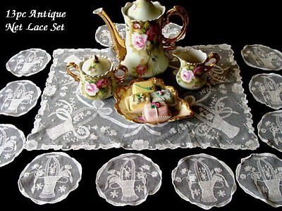 FANTASTIC 13pc Antique Embroidered Net Lace Tray Cloth Coasters Doilies PRISTINE