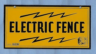 """Vintage E.s.c. Qwik-Way """" Electric Fence """" Sign Enamel New Old Stock 4 """" X 8 """""""