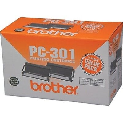 2 Genuine Brother PC-301 Printing Cartridges ~ 2 Pack- NIB Fax 750 770 775