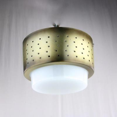 VTG 1950s Mid-Century Modern Flush Mount Light Fixtures Antique Brass Virden NOS