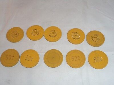 Lot of 10 HOTEL DUNES Card Room 50c CASINO CHIP 4th Issue 50 Cent Las Vegas NV!