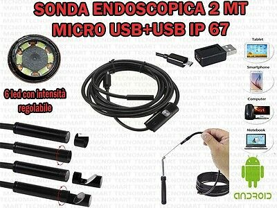 Sonda Endoscopica Ispezione Micro E Usb 2 Mt 6 Led Ip67 Per Android Windows Otg