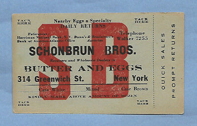 Vintage Dairy Tag Schonbrun Bros Butter & Eggs New York New York New Old Sstock