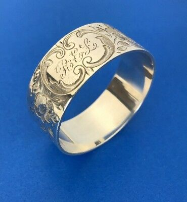 Vintage Stieff Sterling Silver Napkin Ring, Hand Engraved