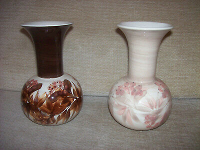 2 Jersey Pottery Vases Both with Leaves & Flowers Decoration